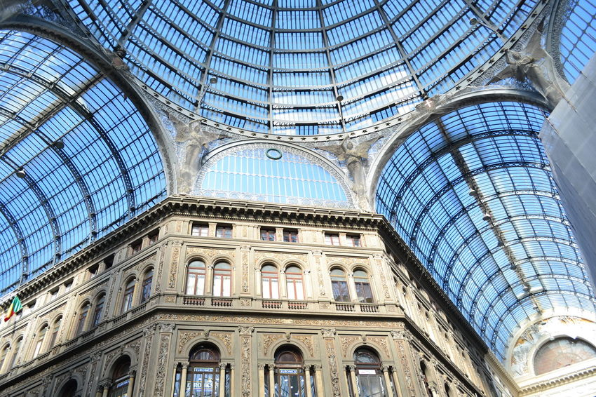 Arch Architectural Column Architectural Feature Architecture Built Structure Capital Cities  Ceiling Culture Day Design Dome Galleria Vittorio Emanuele Interior Landmarkbuildings Low Angle View Modern Naples No People Ornate Skylight Tourism Trasparenza Travel Destinations Vetrata Vista Dal Basso