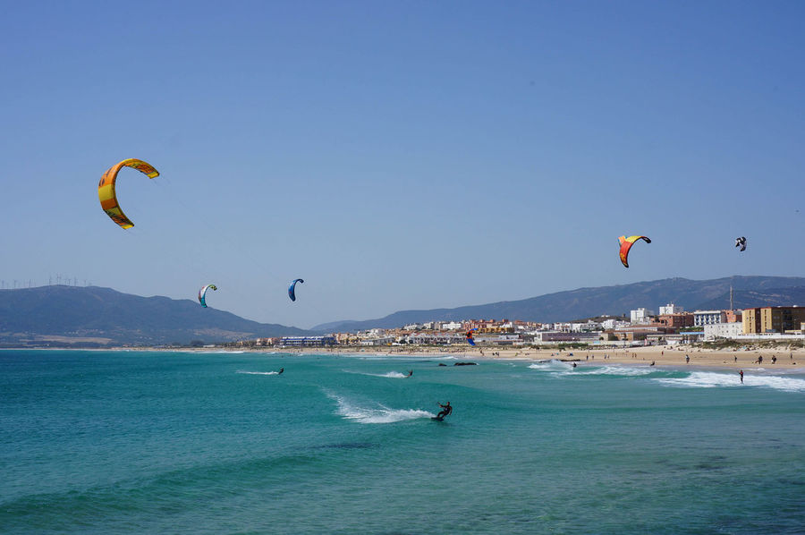 Tarifa Spain EyeEm Nature Lover Summer Seascape Wave Day Wind Leisure Activity Outdoors Kiteboarding Sea Water Kitesurfing Beach Vacations Blue An Eye For Travel
