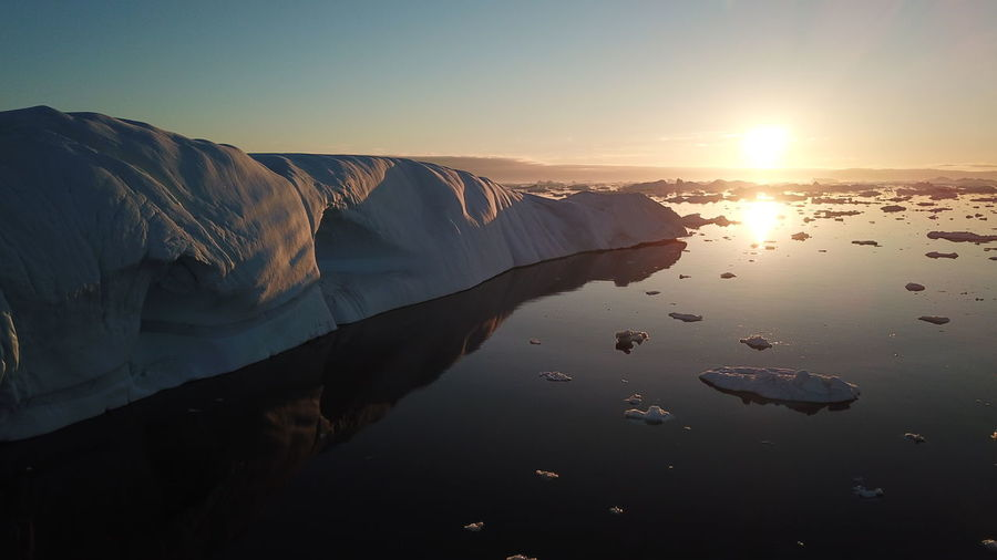 the midnight sun is here. Drone  Drone Shot EyeEm Best Shots EyeEm Best Shots - Nature Ilulissat Ilulissat Icefjord Midnight Sun Nature Nature Photography Reflection The Real Greenland This Is Greenland Drone Photography Dronephotography Droneshot Mavic Pro Nature_collection Reflections Reflections In The Water