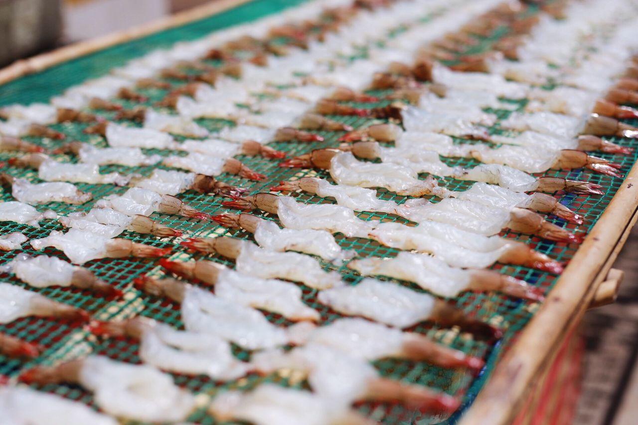 Shrimps arranged at market for sale