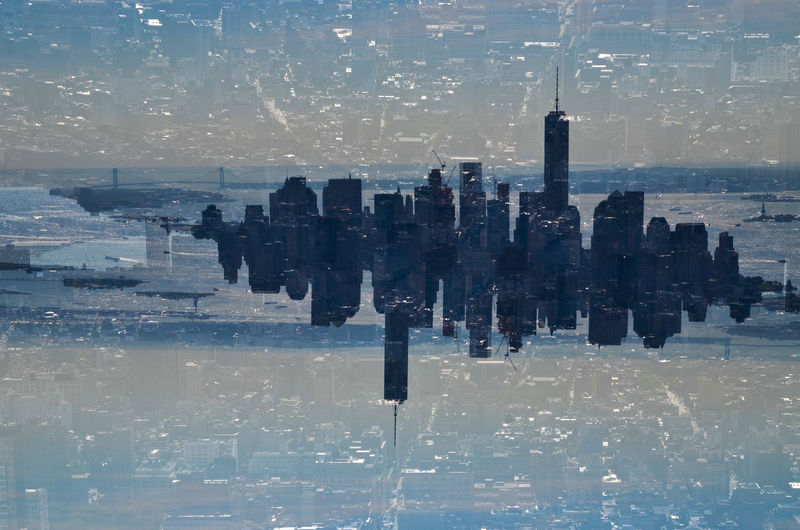 Architecture City City Life Cityscape Concrete Jungle Double Exposure Glitch Manhattan New York City One World Trade Center Top Perspective The Changing City Seeing The Sights