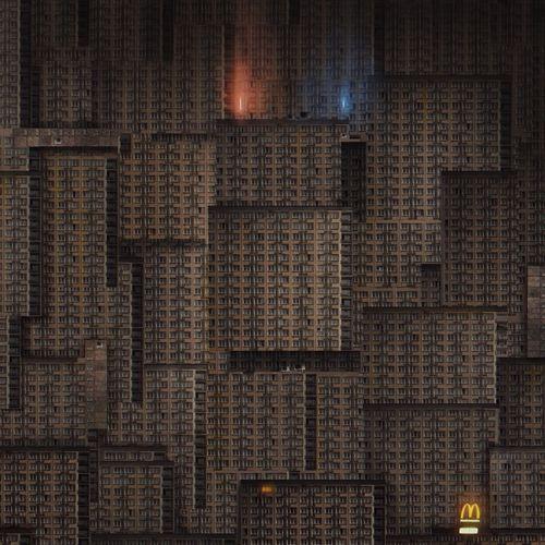 Full frame shot of building wall at night