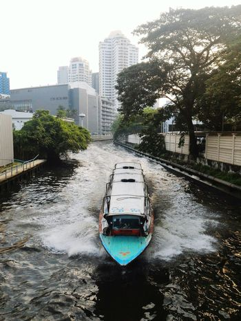 Public Transport Tree Transportation Canal Splash Speed Cultures Bangkok Thailand Water City Outdoors Day Boat Motorboat Miles Away The City Light Travel Destinations EyeEm Best Shots Flying High