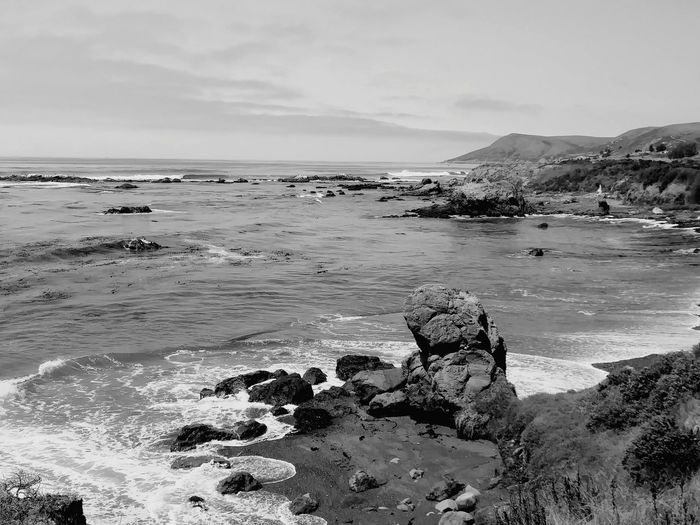 Beach Sea Sand Outdoors Landscape Day Horizon Over Water No People Low Tide Travel Destinations Tranquility Water Nature Vacations Beauty In Nature Sky Black And White Nature