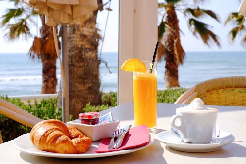 Good Morning Breakfast Morning Juice Croissant Coffee Sea And Sky Sea Mediterranean