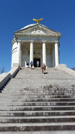 Low Angle View Of People Moving Up On Steps At Vicksburg National Military Park