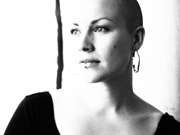 Artistic Bald Girl Bald Head Beautiful Woman Black And White Black And White Portrait Headshot Portrait Real People Shaved Head White Background Woman