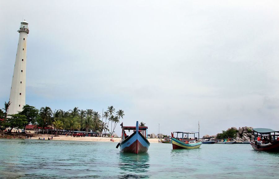 Water Transportation Nautical Vessel Outdoors Tranquility Nature No People Day Sky Pedal Boat Gondola - Traditional Boat Sea Beach Vacations Architecture Monument Mercusuar Beauty In Nature Belitung, Indonesia The Great Outdoors - 2017 EyeEm Awards The Architect - 2017 EyeEm Awards
