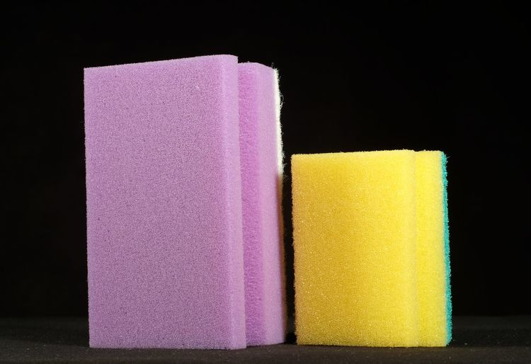 Black Background Cleaning Dishwashing Sponge Foam Group Of Objects No People Object Pink Rubber Sponge Small And Big Studio Shot Washing Yellow Fujifilm Xm1