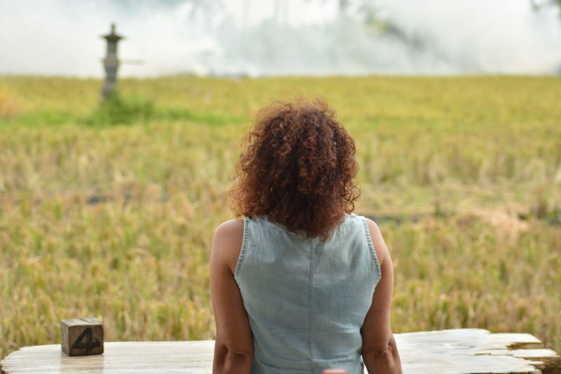 EyeEm Selects Curly Hair Adults Only Only Women Rear View Adult One Woman Only One Person Field Focus On Foreground Rural Scene People Day One Young Woman Only Women Standing Young Women Young Adult Nature Outdoors Agriculture Bali, Indonesia