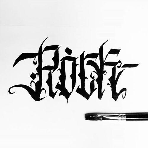 Rock Brush Ink Handlettering Kaligrafina Belmenid Lettering Gothic Font Rocknroll Handlettering Font Typo Typography Handstyle