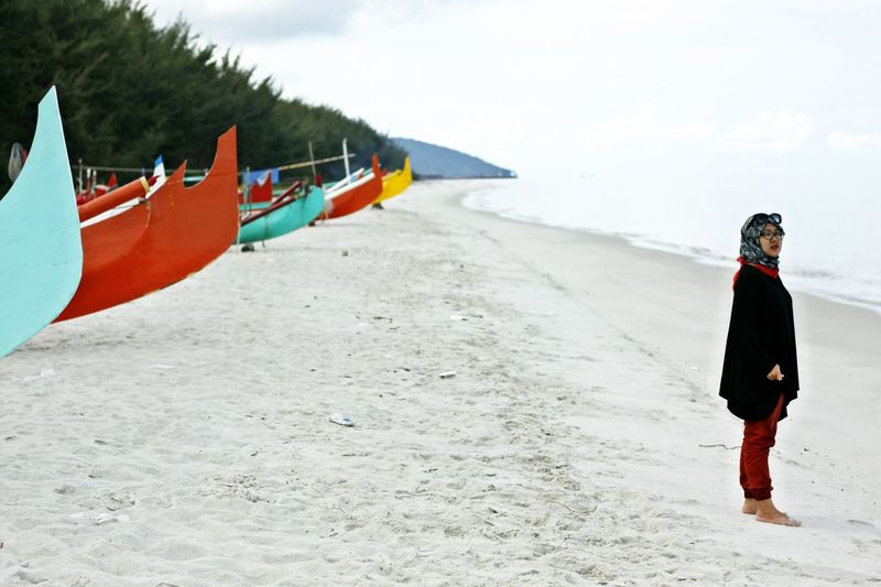 Adult Beach Beach Life Beach Time Beauty In Nature Belitung, Indonesia Children Only Cloud - Sky Day Full Length Leisure Activity Nature One Person Outdoors People Sand Sea Sky Standing Vacation Vacations Water Woman On The Beach