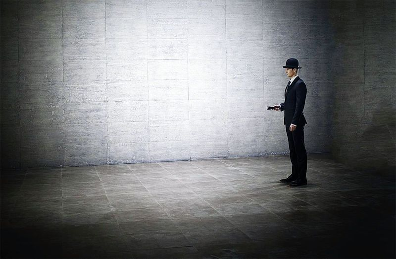 A Man Flashlight A Man With A Flashlight Space Eyeemphotography Model Model Pose Black Hat Black Suit