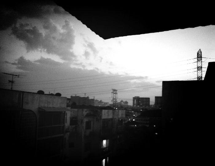 Gloomy Sunday Black & White Evening Sky