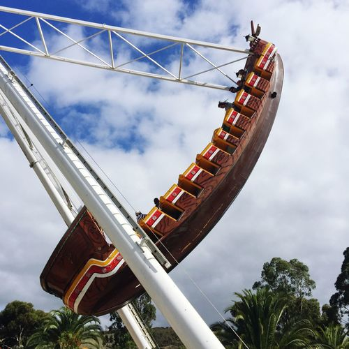 Low angle view of amusement ride at park