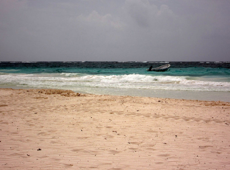Beach and boat in turquoise water - Tulum - Quintana Roo Beach Beauty In Nature Day Horizon Over Water Nature Nautical Vessel No People Outdoors Scenics Sea Water Wave