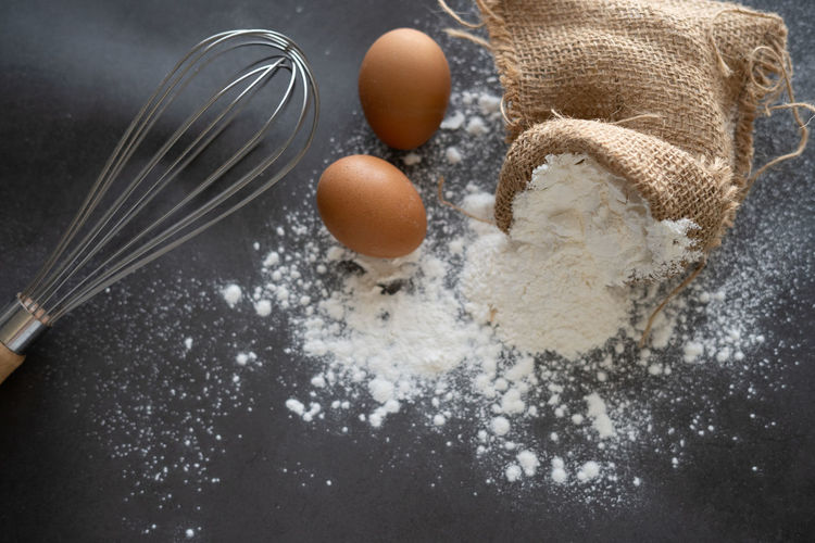 Dough scoop and flour for cooking Food Food And Drink Egg Kitchen Utensil Flour Indoors  Freshness No People Preparation  Ingredient Household Equipment Close-up Still Life High Angle View Eating Utensil Raw Food Wire Whisk Domestic Room Spoon Wellbeing Egg Yolk Preparing Food