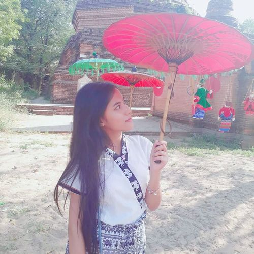 Bagan Myanmar Pathein_umbrella One Person Young Adult Beauty Smiling