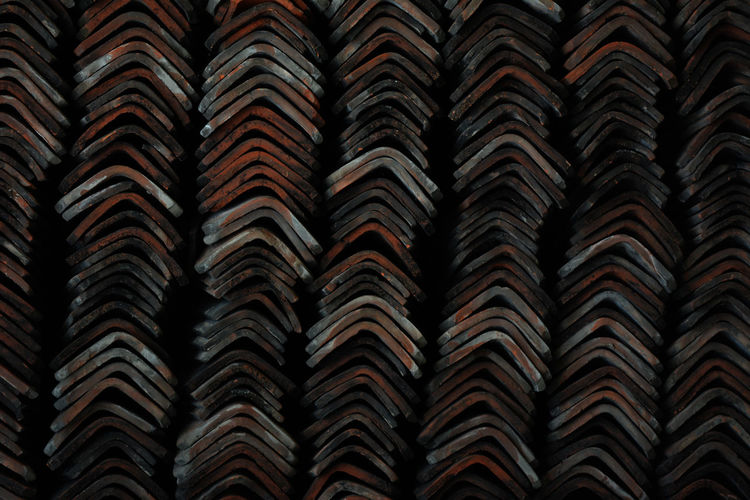 Full frame shot of stacked roof tiles