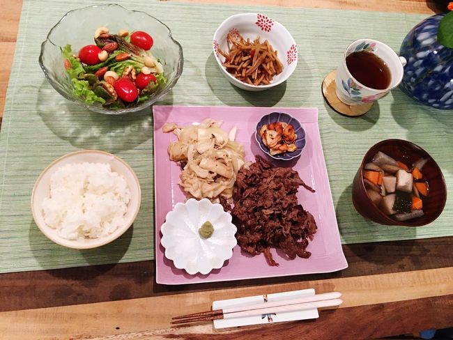 Today's Dinner Yakiniku Noppe Soup Nuts Salad Burdock Nimono Ready-to-eat Healthy Eating Indoors  Japanese Food SoDelicious