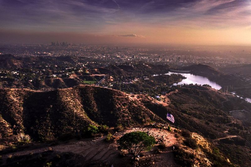 Sunset glow over Los Angeles MyPhotography Hollywood City Beautiful DJI Mavic Pro Los Angeles, California Outdoors High Angle View Tranquil Scene Sunset No People Day Cityscape