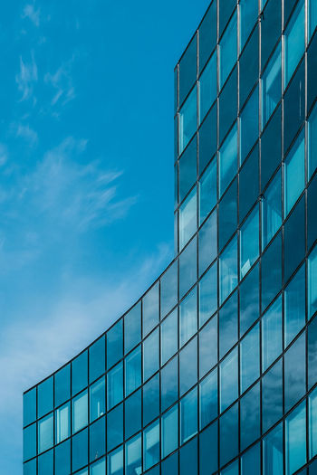 Architecture Blue Building Building Exterior Built Structure City Cloud - Sky Day Glass - Material Low Angle View Modern No People Office Building Exterior Outdoors Reflection Sky Skyscraper Window