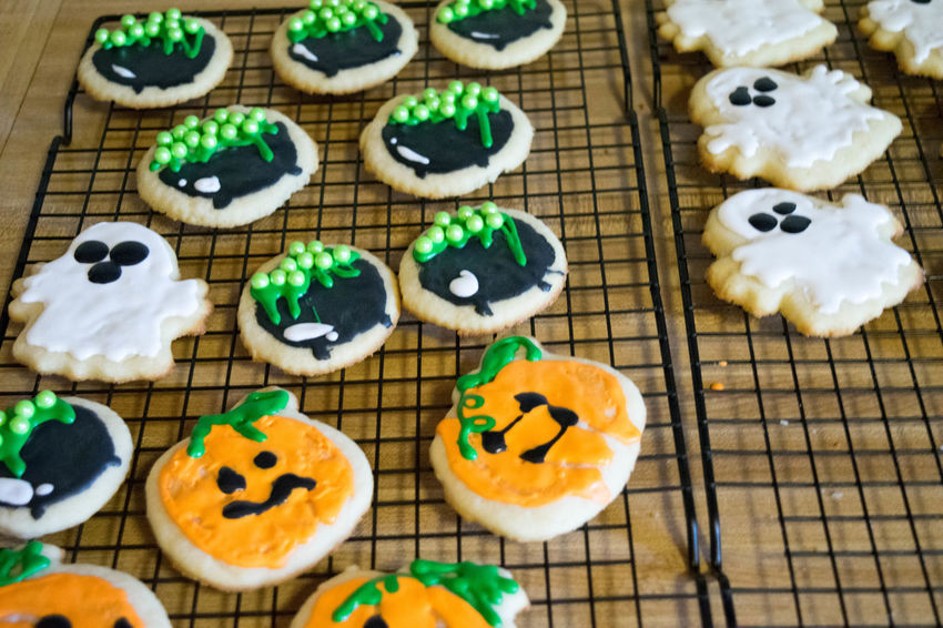 Baked Goods Cookies Halloween Halloween Treats SugarCookies Treats Baked Close-up Cupcake Day Dessert Festive Food Food And Drink Freshness High Angle View Indoors  Indulgence No People Ready-to-eat Still Life Sugar Cookies Sweet Food Table Temptation Unhealthy Eating Variation