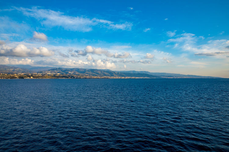 Messina Italy Sicily Ferry Sea Cloud - Sky Water Waterfront Sky Scenics - Nature Tranquil Scene Beauty In Nature Tranquility Nature No People Idyllic Rippled Horizon Day Blue Non-urban Scene Horizon Over Water Outdoors