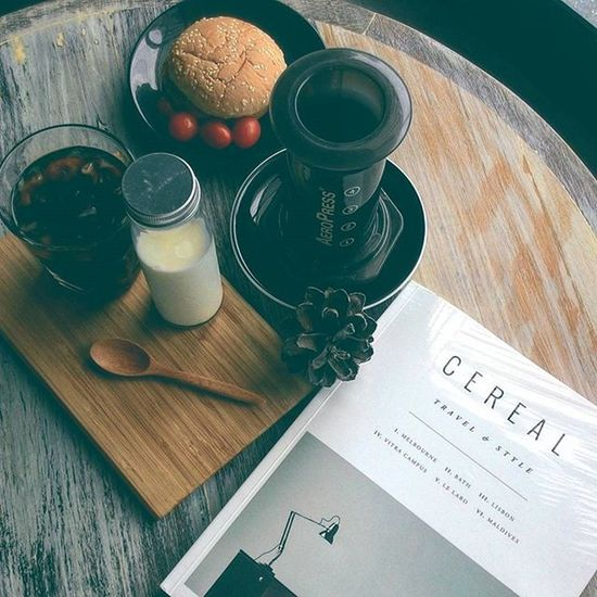 Good morning!!!!!let's have Breakfast Burger and Coffee Aeropress while Reading a Magazine Cerealmag GoodTimes Goodmood Instafood Instacoffee Instabook Instamood Instalike Instacool Vscocam Vscogood Vscocoffee Cool Chic Life Lifestyle City Urbancity Creative simple photoshoot photographer morning baristalife