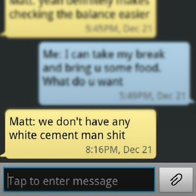 """It was supposed to say """" we don't have wipes and mattman shit"""" @buffmatt12 LMAO LOL Autocorrect"""
