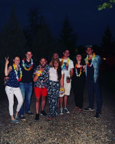 Couples Friends Engagement Party Engagement Party Hawaiian Style Hawaii Party Group Of People Friendship Night Celebration Modern Hospitality