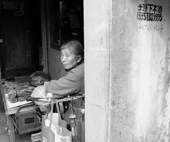 Women China Ancient Town Blackandwhite