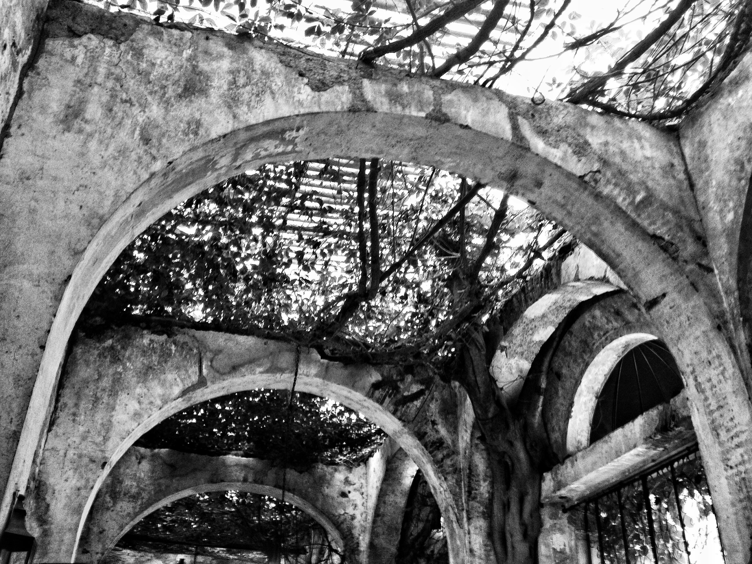 architecture, built structure, arch, tree, old, low angle view, abandoned, history, circle, metal, day, no people, building exterior, weathered, damaged, branch, outdoors, archway, bare tree, sky