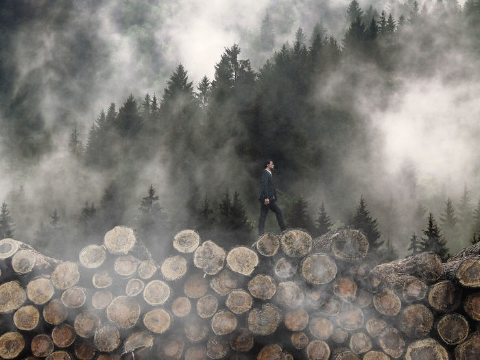 Man standing on log in forest