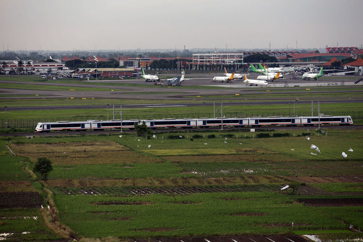 Railink Airport Soekarno Hatta International Railink Kereta Keretaapi Bandara Soetta Soekarno-hatta International Airport Soekarno Hatta Tourism Destination World International Airplane Sky Rail Skyteam Tangerang Banten INDONESIA Getty Images Harbor Water Mountain Beach Sea Grass Building Exterior Landscape
