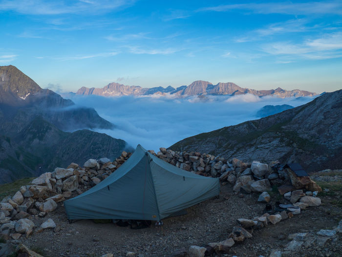 View of camping tent near the refuge bayssellance