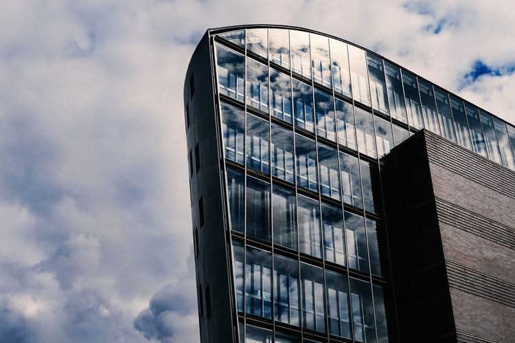 Mirror, mirror on the sky. Architecture Berlin Building Cityscapes Clouds And Sky Design Exterior Low Angle View Minimalism Reflections Sony Tall Vivid Colours  Weather Colour Of Life