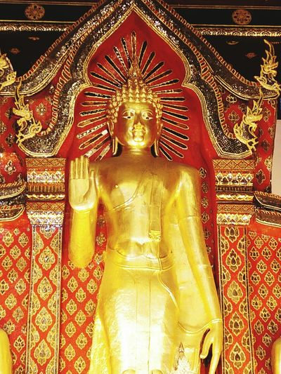 Religion Gold Colored Statue Indoors  No People Travel Thailand Sculpture Buddha style standing gold art temple religion architecture high tower travel Thailand wall religion chiang mai