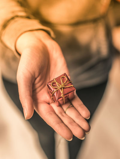 Close-up of woman hand holding small wrapped gift at home