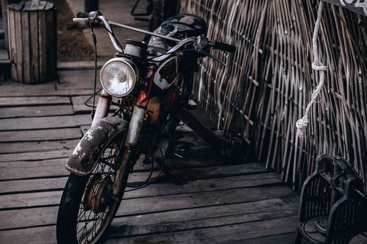 High angle view of motorcycle parked outdoors