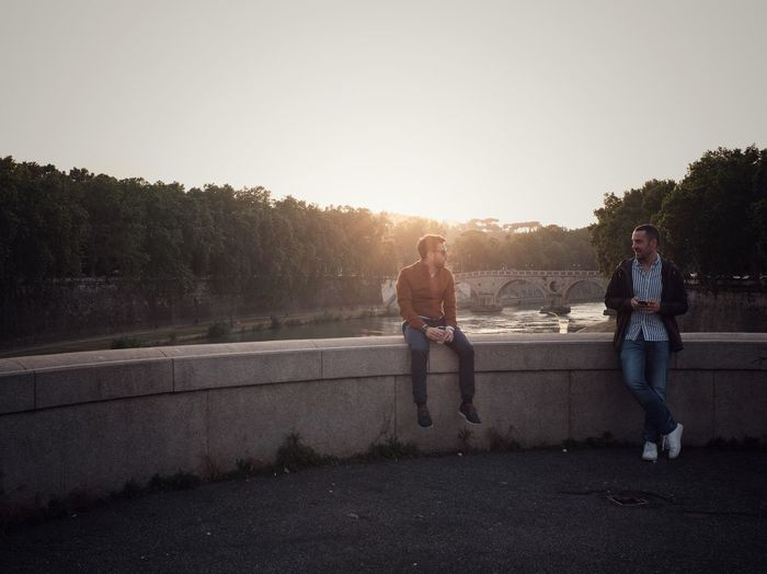 Tiber Times EyeEm Best Shots Urban Sunset Summer Hanging Out Friends Light Sky Real People Leisure Activity Sunset Nature Full Length Lifestyles Togetherness Sunlight Men Casual Clothing Lens Flare