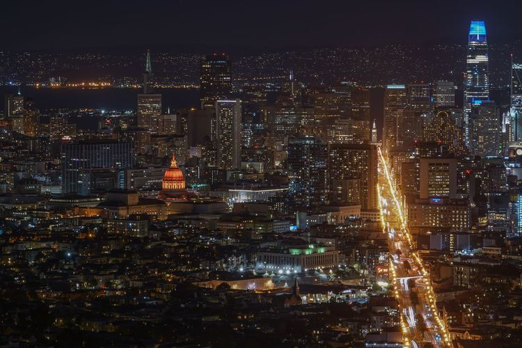San Francisco Bay Market Twin Peaks City Night Building Exterior Cityscape Illuminated Architecture Built Structure Building Crowded Office Building Exterior City Life High Angle View Skyscraper Modern Outdoors Glowing Aerial View Nightlife Apartment Financial District  San Francisco