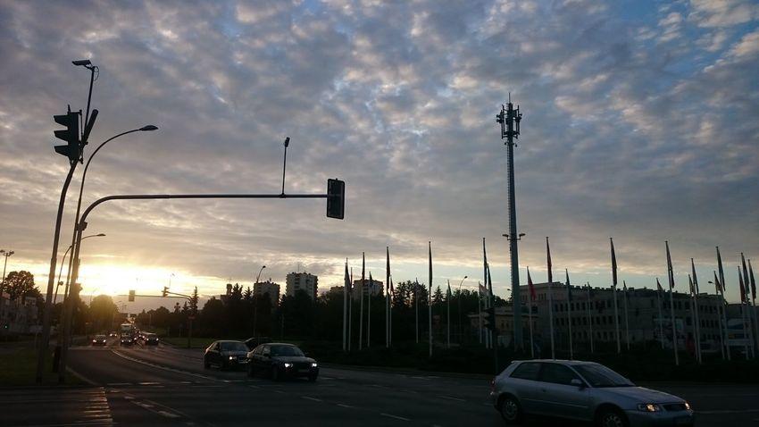 Car Cloud - Sky Sunset No People Sky Street Light City Day Almostweekend  Rzeszów Bike's Perspective Road