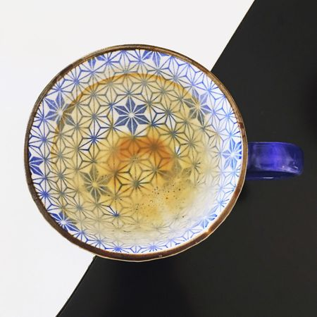 Blackandwhite Empty Coffee Coffee Mug Indoors  Pattern Design No People Geometric Shape Shape Circle Still Life Close-up Single Object Floral Pattern Directly Above