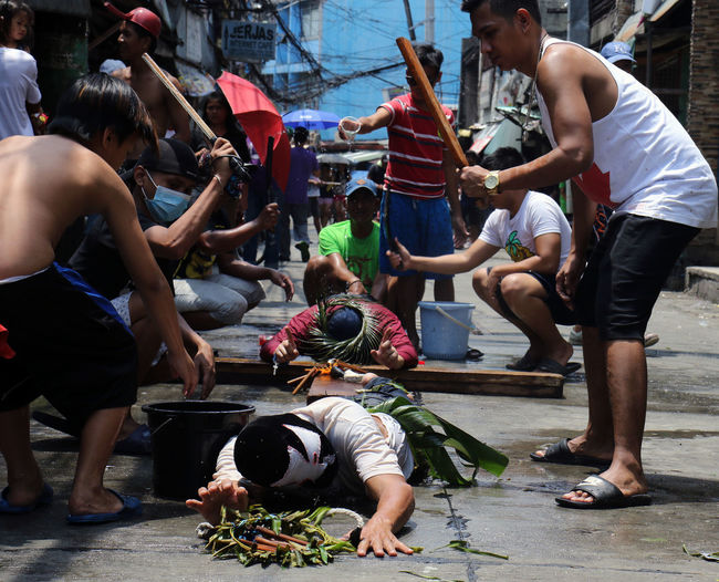 Cross Good Friday Holy Week Manila Philippines Crowd Flagellation Group Of People Large Group Of People Malibay Men Penance Penitent Real People Sacrifice