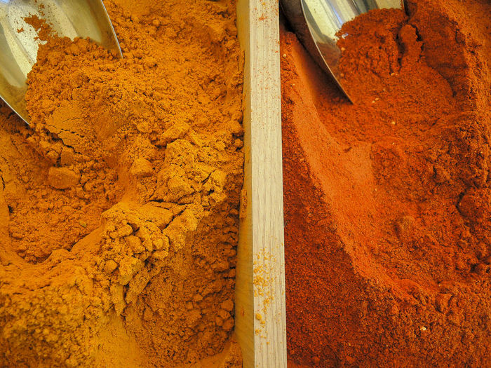 Directly above shot of spices in containers at market stall