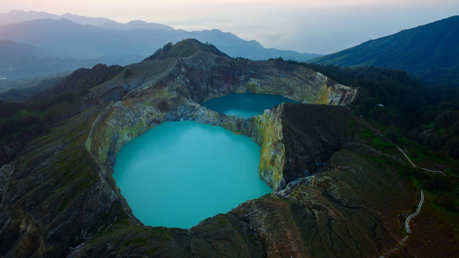 Aerial photo of kelimutu mountain