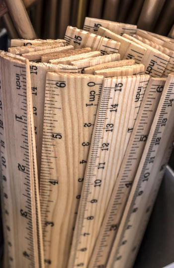 Close-up of rulers