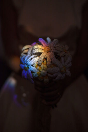 Beautiful rainbow glare on bridal bouquet Close-up No People Flower Indoors  Focus On Foreground Wool Flowering Plant Day Plant Creativity Body Part Nature Multi Colored Pattern Arts Culture And Entertainment Floral Pattern Rainbow Colors Glare Of The Sun Bridal Bouquet