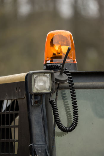 Close-up of siren on construction vehicle